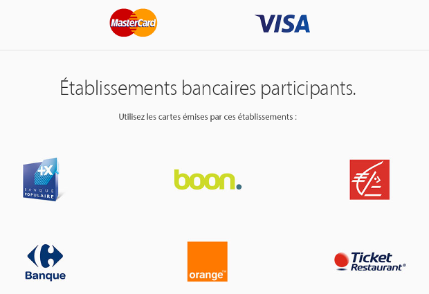 Partenaires de l'Apple Pay en France