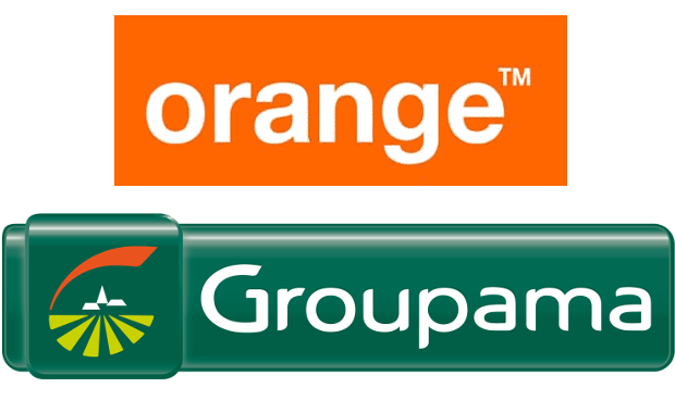 Logos d'Orange et de Groupama